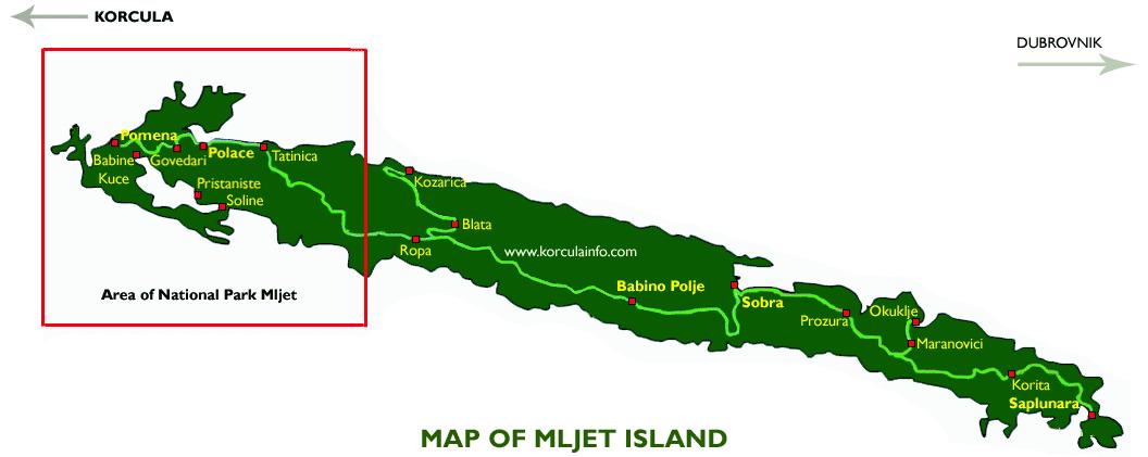 mapa otoka Mljet