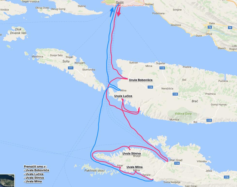 zemljevid srednja dalmacija