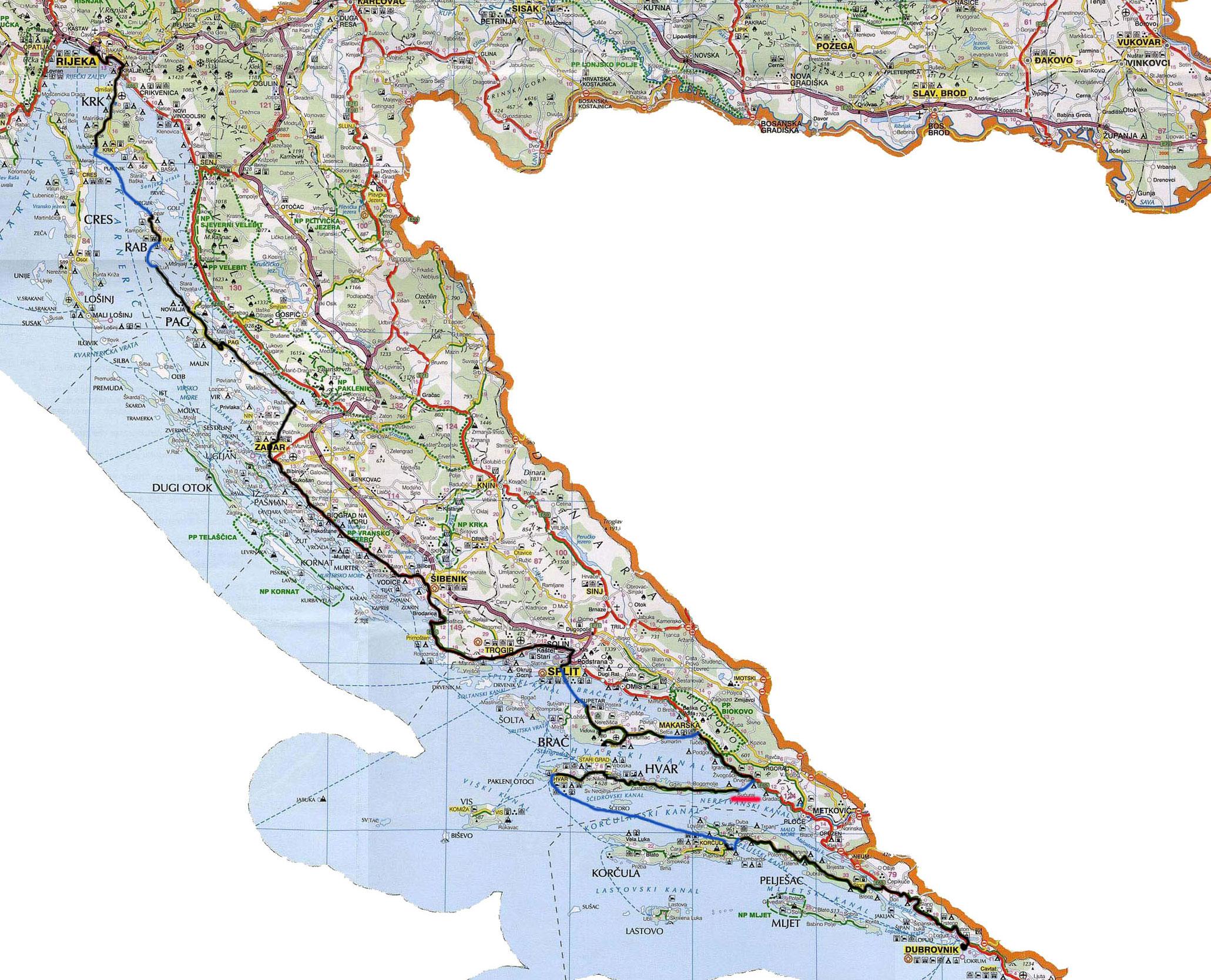 zemljevid kolesarjenja po jadranu