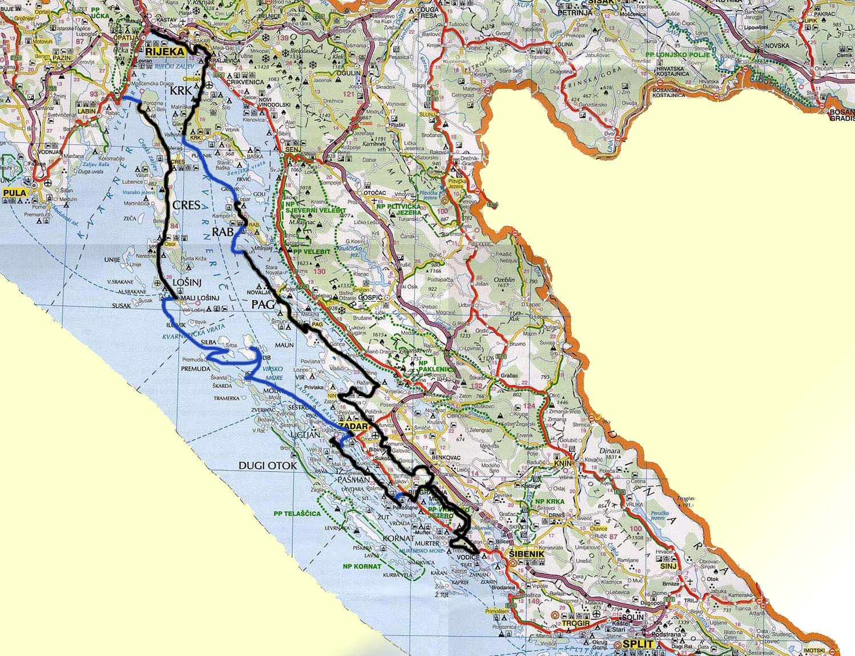 zemljevid poti kolesarjanja po jadranski obali