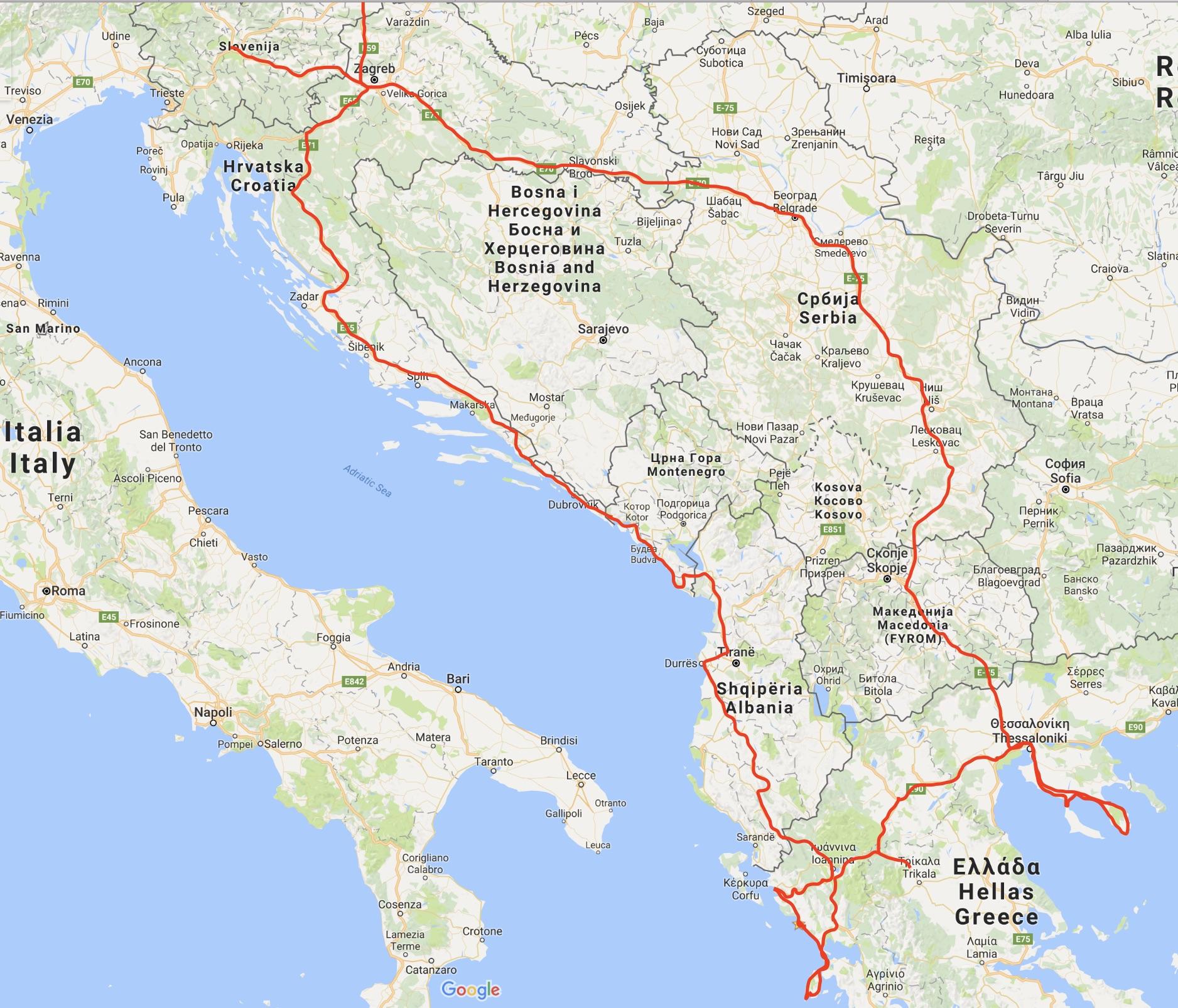 zemljevid grčije