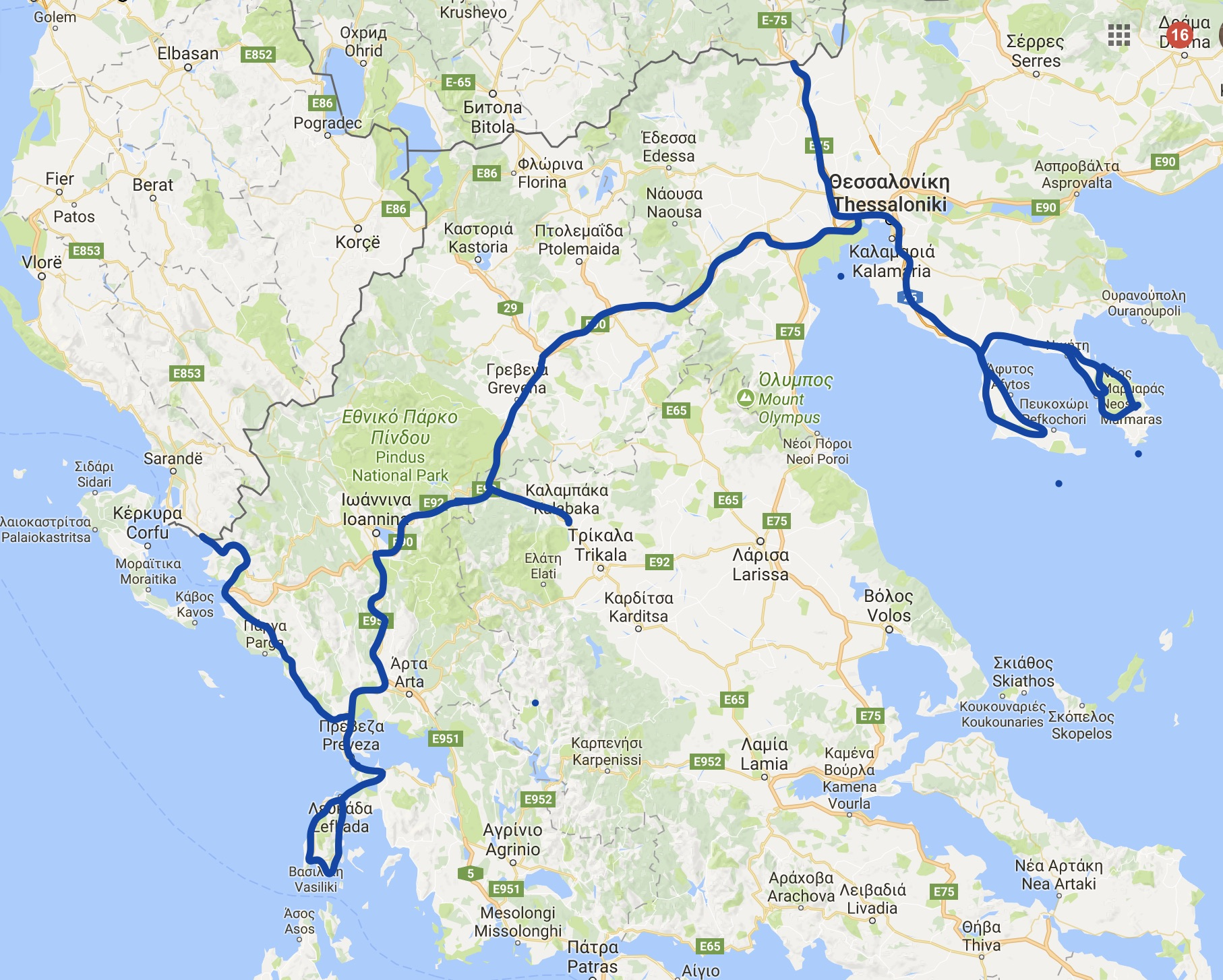 Plan poti - Grčija