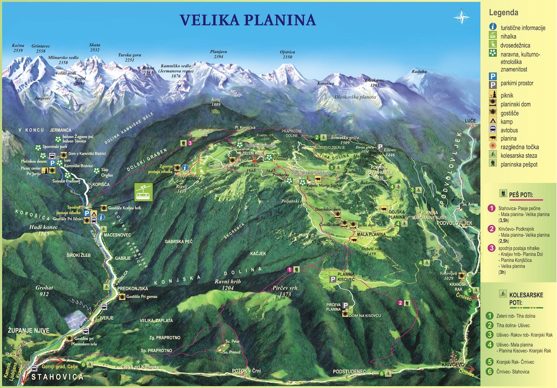 velika planina zemljevid
