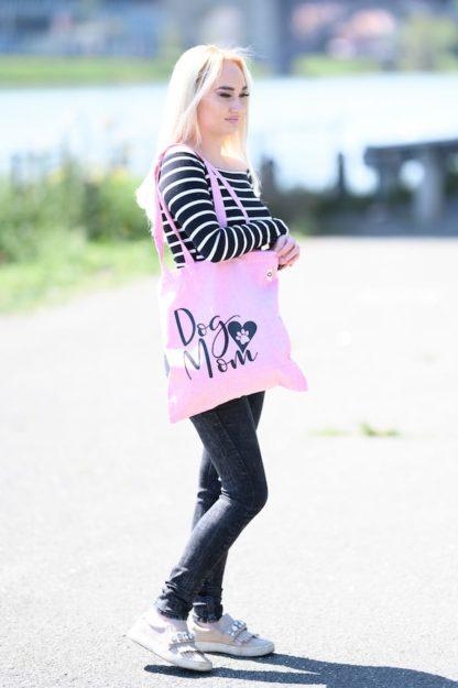 Bombažna eko vrečka roza barve - Dog Mom