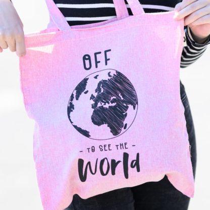 Bombažna eko vrečka roza barve - OFF To See The World