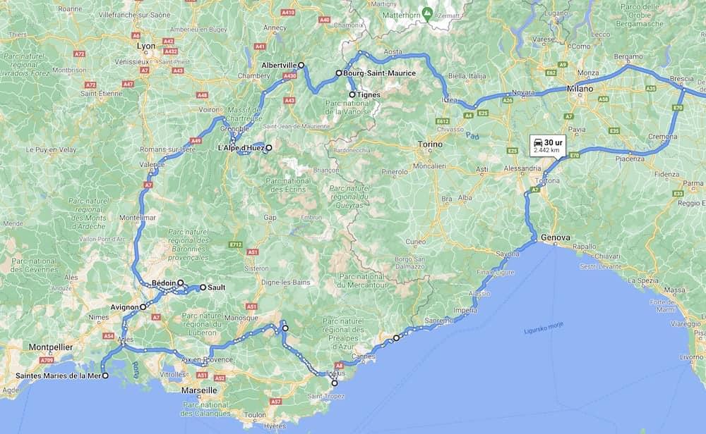 zemljevid poti po franciji